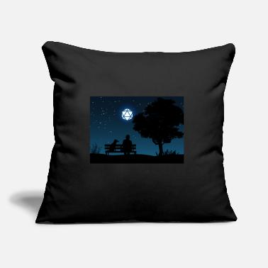 "Man with Dog D20 Dice Moon Night Tabletop RPG - Throw Pillow Cover 18"" x 18"""