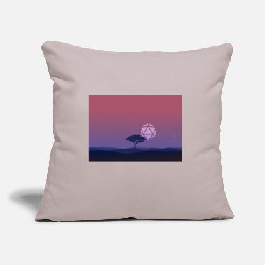"Landscape Lonely Tree Sunset D20 Dice Sun RPG Landscape - Throw Pillow Cover 18"" x 18"""