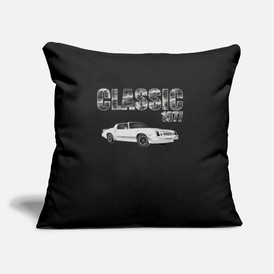 "Vintage Pillow Cases - 1977 car classic - Throw Pillow Cover 18"" x 18"" black"