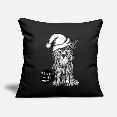 "Black And White Collection always smile, dog happy christmas - Throw Pillow Cover 18"" x 18"""