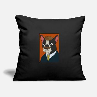 "Dog mastiff suit tie beard pet funny - Throw Pillow Cover 18"" x 18"""