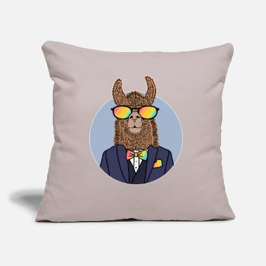 "Sunglasses Llama Rainbow Sunglasses Suit Tie Bow Gentleman - Throw Pillow Cover 18"" x 18"""