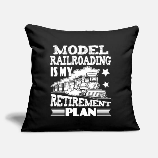 "Model Railroad Pillow Cases - Retirement Plan Model Railroading Shirt - Throw Pillow Cover 18"" x 18"" black"