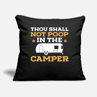 "Poop thou shall not poop in the camper - Throw Pillow Cover 18"" x 18"""
