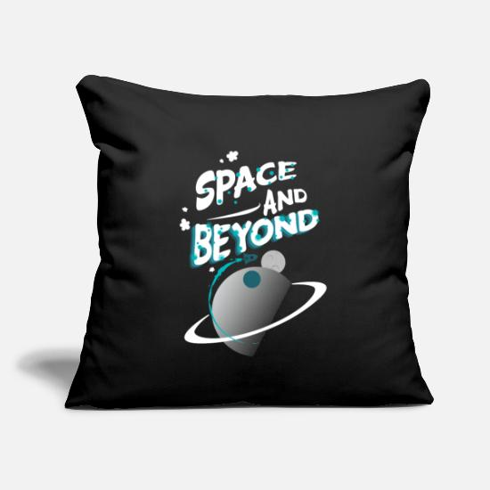 "Space Pillow Cases - Space and beyond - Throw Pillow Cover 18"" x 18"" black"