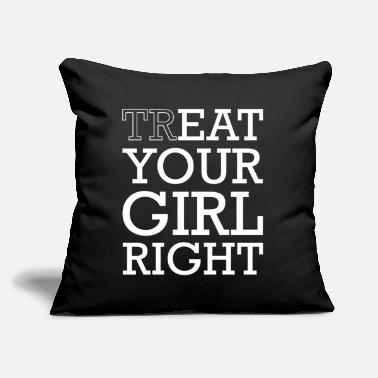 "Couple Treat & Eat Your Girl Right Sex for Valentines Day - Throw Pillow Cover 18"" x 18"""
