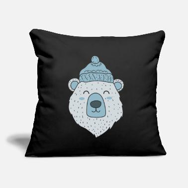 "Animal polar bear Ice Bear Icebear Winter Winter Hat gift - Throw Pillow Cover 18"" x 18"""