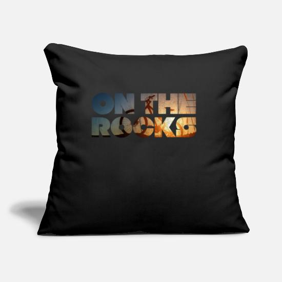 "Freeride Mtb Pillow Cases - Mountain Bike On The Rocks Downhill Freeride MTB - Throw Pillow Cover 18"" x 18"" black"