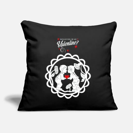 "Gift Idea Pillow Cases - Fairy Tale Love Heart Romantic Boy Girl Valentine - Throw Pillow Cover 18"" x 18"" black"