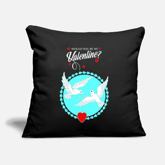 "Love Pillow Cases - Love-Birds Valentine Hearts Fall in Love giftidea - Throw Pillow Cover 18"" x 18"" black"