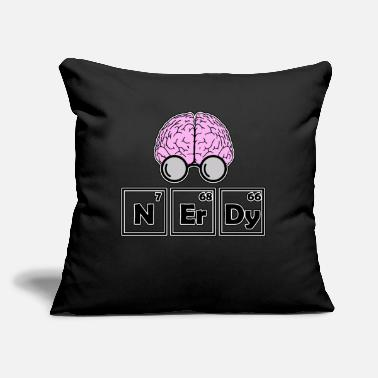 "Periodic Table Nerdy - periodic table with brain - Throw Pillow Cover 18"" x 18"""