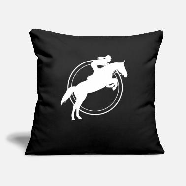 "Show Jumping Show Jumping Western - Throw Pillow Cover 18"" x 18"""