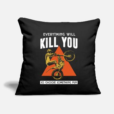 "Kill everyhing will kill you gift idea bike shirt biker - Throw Pillow Cover 18"" x 18"""