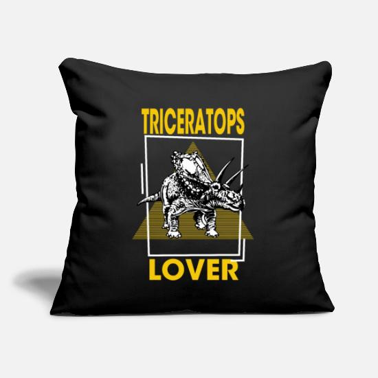 "Animal Rights Activists Pillow Cases - Triceratops Lover - Triceratops, Genus Triceratops - Throw Pillow Cover 18"" x 18"" black"