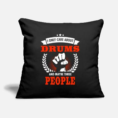 "Tambours I Only Care About Drums And Maybe Three People - Throw Pillow Cover 18"" x 18"""