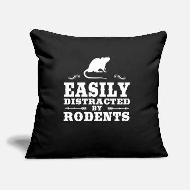 "Rodent Easily Distracted By Rodents Funny Rodent Design - Throw Pillow Cover 18"" x 18"""