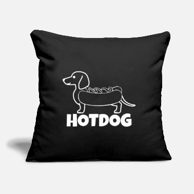 "Hot Dog Hot Dog - Dog with Hot Dog - Throw Pillow Cover 18"" x 18"""