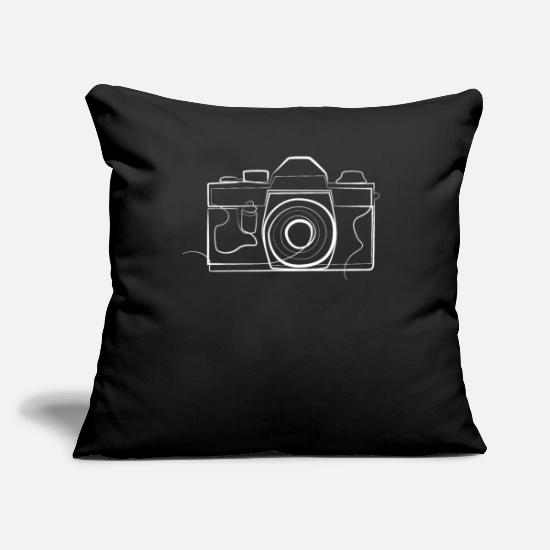 "Fotograf Pillow Cases - Camera Photographer - one line drawing - Throw Pillow Cover 18"" x 18"" black"