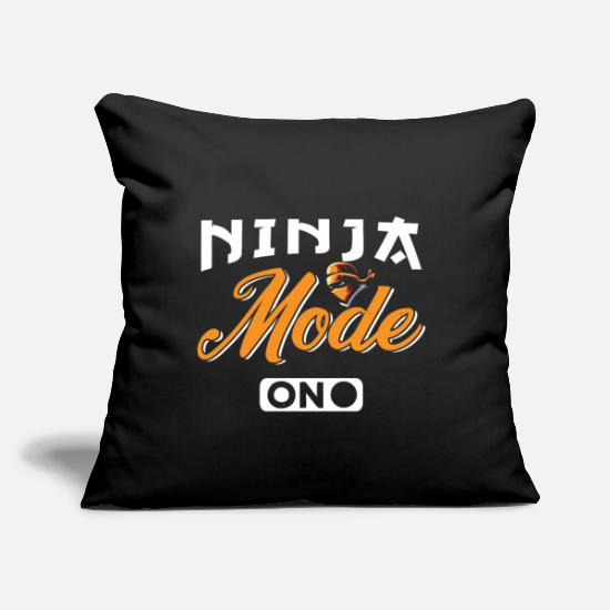 "Humor Pillow Cases - Ninja Mode On - Throw Pillow Cover 18"" x 18"" black"