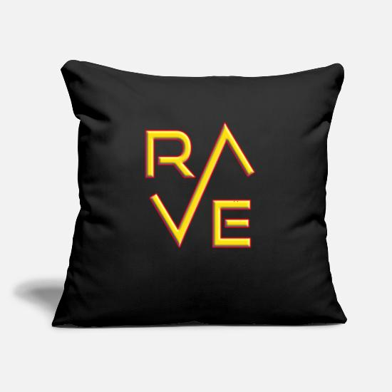 "Techno Pillow Cases - Rave Raver Techno House Trance Dance Music - Throw Pillow Cover 18"" x 18"" black"