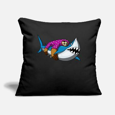 "Pirate Lazy Sloth Riding Shark Funny Ocean Animals - Throw Pillow Cover 18"" x 18"""