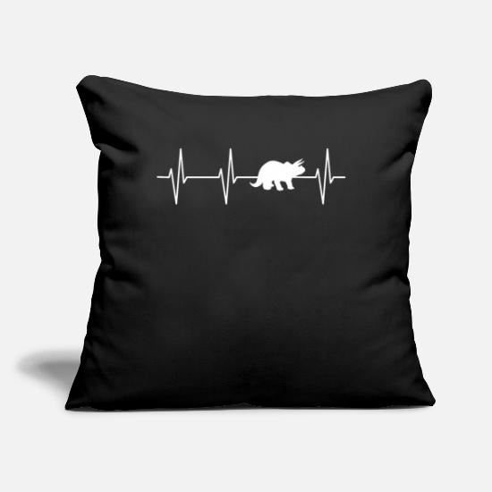"Animal Rights Activists Pillow Cases - Triceratops Heartbeat Shirt - Throw Pillow Cover 18"" x 18"" black"