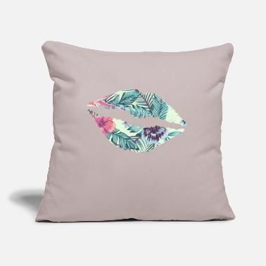 "Naughty Tropical Floral Kiss Lips Valentine Sexy Love - Throw Pillow Cover 18"" x 18"""