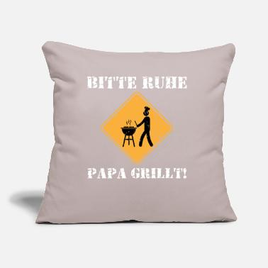 "Slogan Papa Grill Chef Cook Dad Funny German Slogan Gift - Throw Pillow Cover 18"" x 18"""