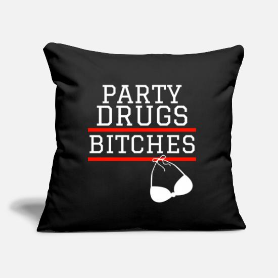 "Gift Idea Pillow Cases - Party Weekend Bitches Summer Celebrations - Throw Pillow Cover 18"" x 18"" black"