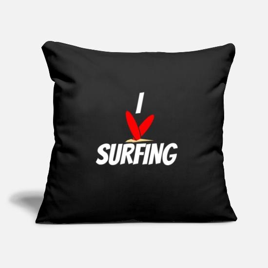 "Surfer Pillow Cases - Surfing - Throw Pillow Cover 18"" x 18"" black"