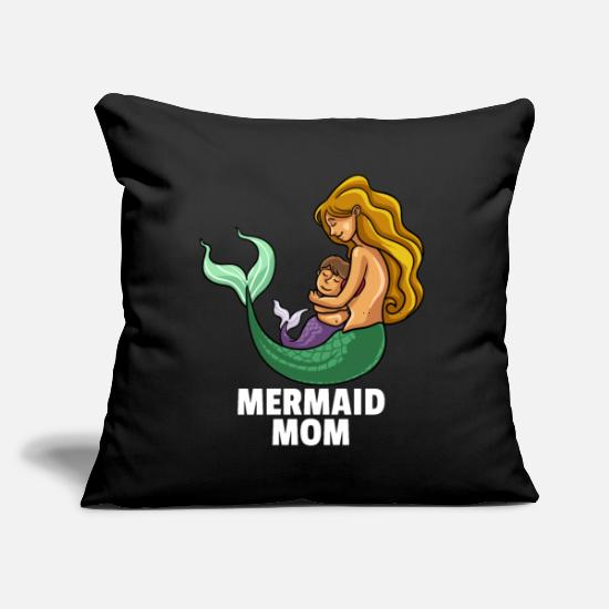"Lover Pillow Cases - Mermaid Mom Lover Party Mama Funny Cute Mommy Gift - Throw Pillow Cover 18"" x 18"" black"