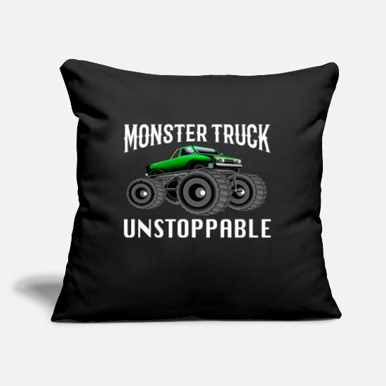 "Truck Pillow Cases - Monster Trucks - Gift Monster Truck - Throw Pillow Cover 18"" x 18"" black"