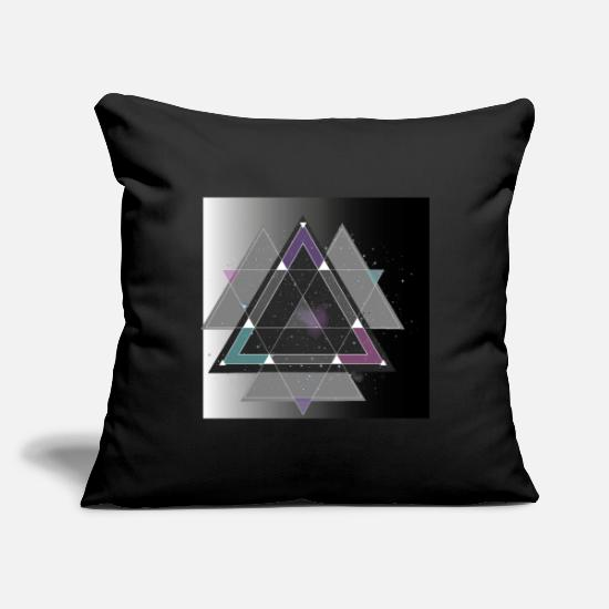 "Grungy Pillow Cases - Geometric Space Designer Shirt - Throw Pillow Cover 18"" x 18"" black"