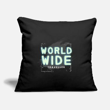 "Travel Travel Travel Travel Traveller Holiday Traveler - Throw Pillow Cover 18"" x 18"""