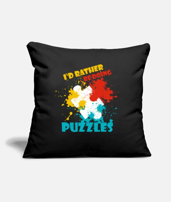 "Puzzle Pillow Cases - Puzzle - Throw Pillow Cover 18"" x 18"" black"