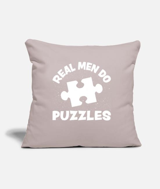 "Puzzle Pillow Cases - Puzzle - Throw Pillow Cover 18"" x 18"" light taupe"