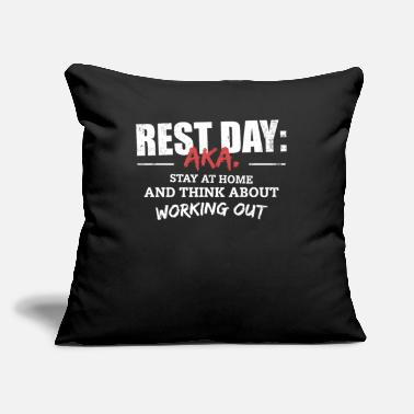 "Funny Fitness Gym Rest Day Saying - Throw Pillow Cover 18"" x 18"""