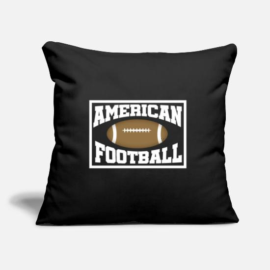 "American Football Pillow Cases - American FootBall - Throw Pillow Cover 18"" x 18"" black"