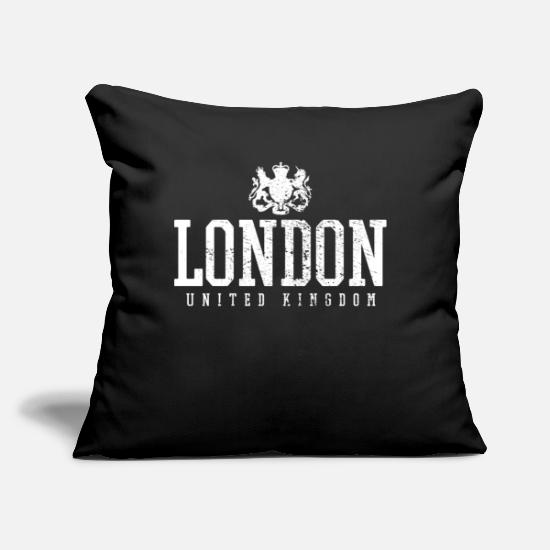 "London Pillow Cases - London UK - Throw Pillow Cover 18"" x 18"" black"