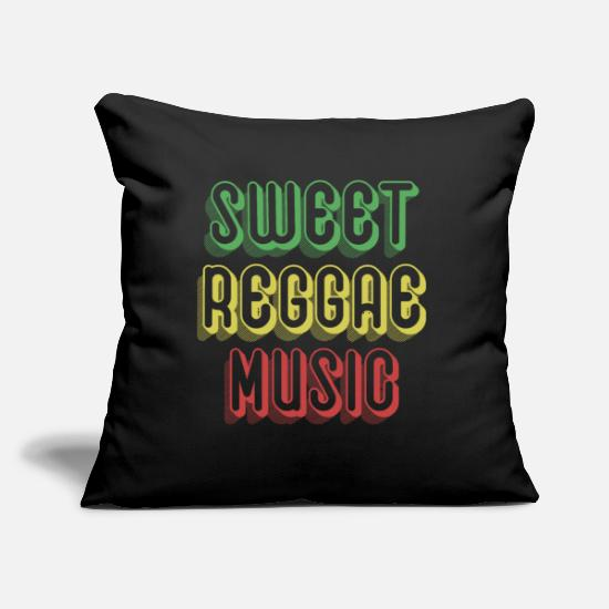 "Reggae Music Pillow Cases - Sweet Raggae Music - Throw Pillow Cover 18"" x 18"" black"