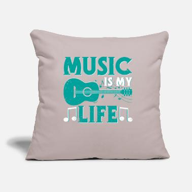 "Music Music Is My Life Graphic - Throw Pillow Cover 18"" x 18"""