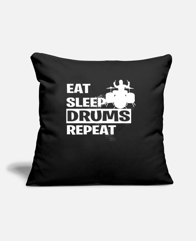 "Hobby Cook Pillow Cases - DRUMS - Throw Pillow Cover 18"" x 18"" black"