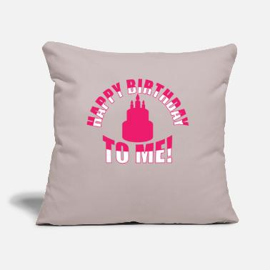 "Bursdag Happy Birthday To Me Candles Cake - Throw Pillow Cover 18"" x 18"""