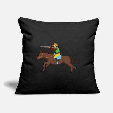 "Revolver Cowboy riding horse lasso wild west gift - Throw Pillow Cover 18"" x 18"""