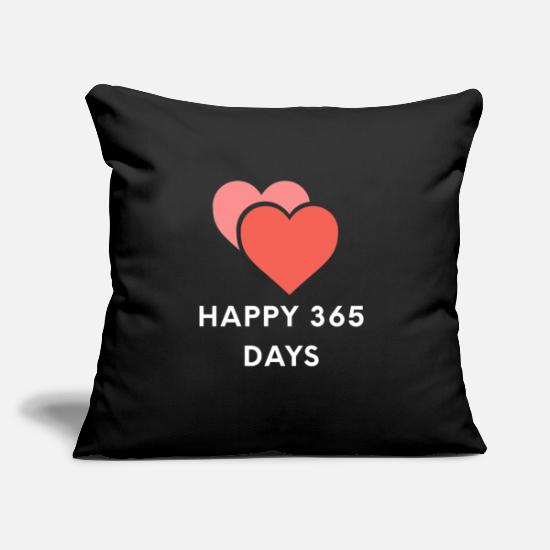"Love Pillow Cases - Happy 365 Days Valentine's Day Gift Two Hearts - Throw Pillow Cover 18"" x 18"" black"