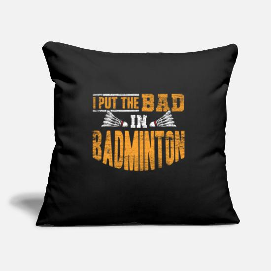 "Gift Idea Pillow Cases - Badminton - Throw Pillow Cover 18"" x 18"" black"