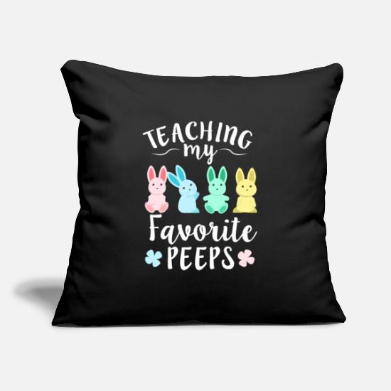 "Easter Bunny Pillow Cases - Teaching My Favorite Peeps Teacher Easter Bunny - Throw Pillow Cover 18"" x 18"" black"