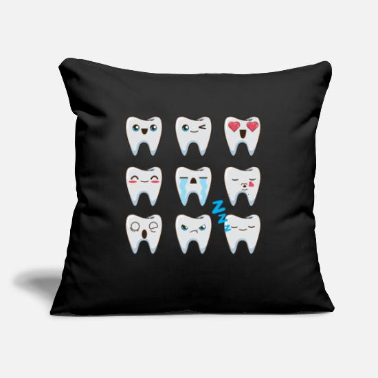 "Dental Pillow Cases - Dentist Tooth - Throw Pillow Cover 18"" x 18"" black"