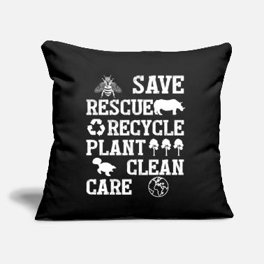 "Animals Save Bees Rescue Animals Recycle Plastic Earth - Throw Pillow Cover 18"" x 18"""