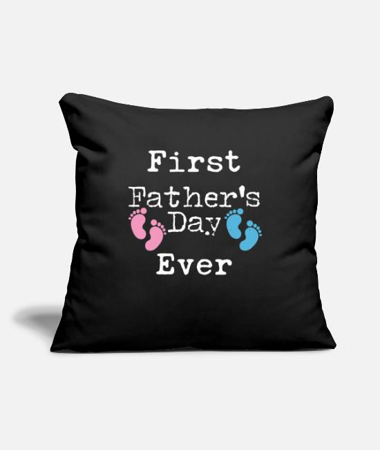 "Pink Pillow Cases - First Father's Day Gift for Father of New Twins - Throw Pillow Cover 18"" x 18"" black"